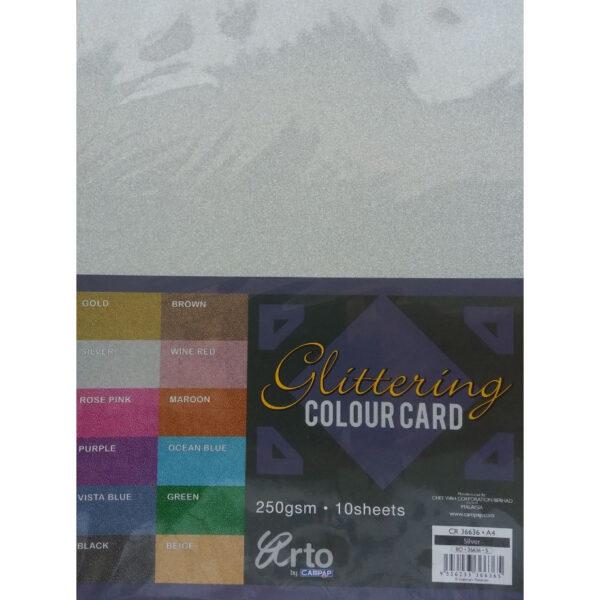 Kraft Karton GLITTER SILVER 250gr SREBRNI 1/10, CR 36636, Campap