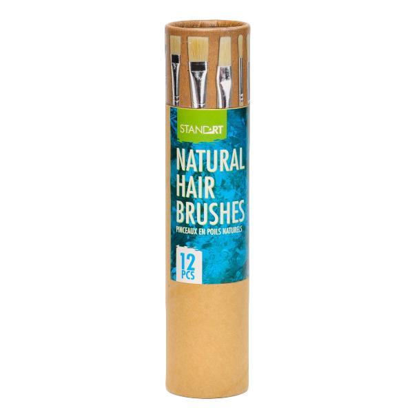 Četkice slikarske u setu 6+6 sa prirodnom dlakom, natural, Standart