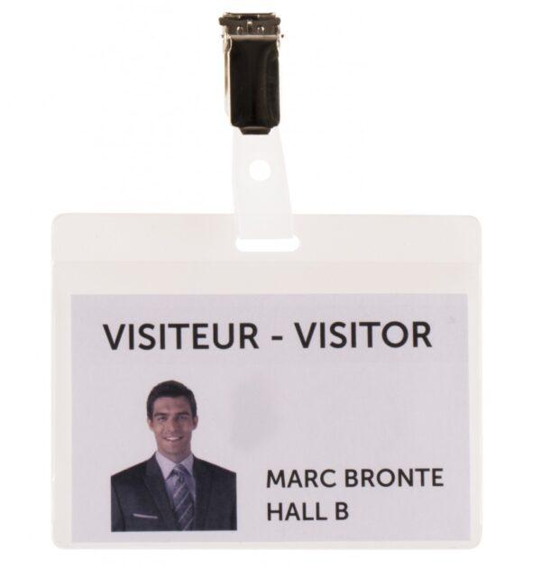 Bedž za ID kartice PVC, 82,5x103mm, sa štipaljkom 1/25 transparent Tarifold