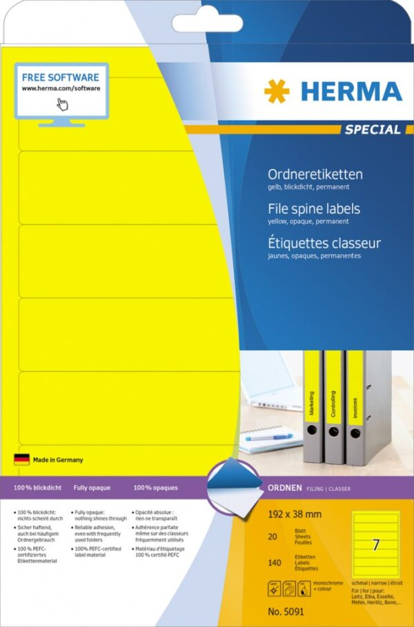 Etikete 192x38, za uski registrator A4/7 1/20 žuta Herma