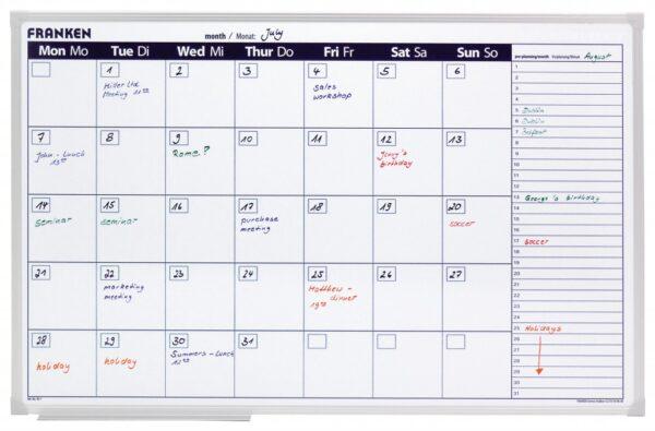 Mesečna planer tabla 60x90 cm / sedmodnevna radna nedelja Franken