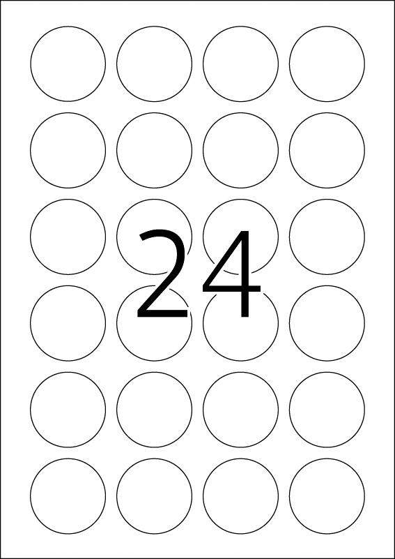 Etikete krug 40 mm A4/24 1/100 bela Herma
