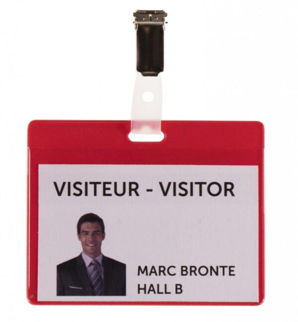 Bedž za ID kartice PVC, 82,5x103mm, sa štipaljkom 1/25 crvena Tarifold