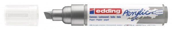 Akrilni marker E-5000 broad 5-10mm kosi vrh srebrna Edding
