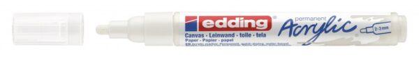 Akrilni marker E-5100 medium 2-3mm obli vrh bela Edding