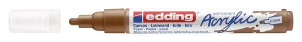 Akrilni marker E-5100 medium 2-3mm obli vrh braon Edding