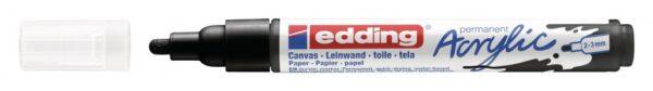 Akrilni marker E-5100 medium 2-3mm obli vrh crna Edding