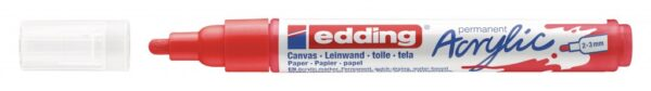 Akrilni marker E-5100 medium 2-3mm obli vrh crvena Edding
