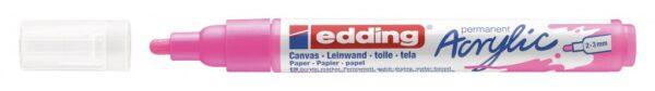 Akrilni marker E-5100 medium 2-3mm obli vrh neon roze Edding