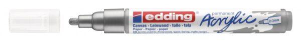 Akrilni marker E-5100 medium 2-3mm obli vrh srebrna Edding