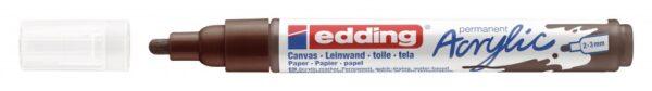 Akrilni marker E-5100 medium 2-3mm obli vrh tamno braon Edding