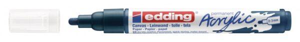 Akrilni marker E-5100 medium 2-3mm obli vrh tamno plava Edding