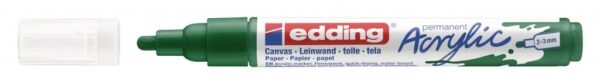 Akrilni marker E-5100 medium 2-3mm obli vrh zelena Edding