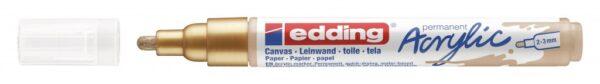 Akrilni marker E-5100 medium 2-3mm obli vrh zlatna Edding