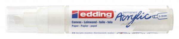 Akrilni marker E-5000 broad 5-10mm kosi vrh bela Edding