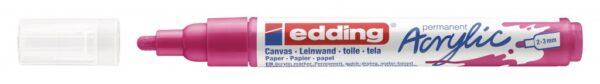 Akrilni marker E-5100 medium 2-3mm obli vrh magenta Edding