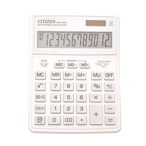 Stoni kalkulator CITIZEN SDC-444 color, 12 cifara bela