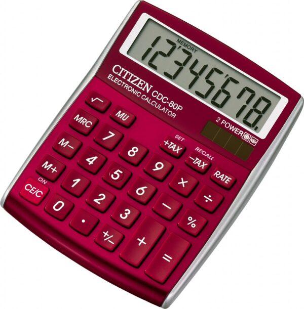 Stoni kalkulator Citizen CDC-80, 8 cifara crvena